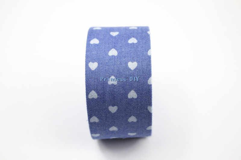 5 מטרים\חבילה 10mm 25mm 40mm לב הדפסת הבוקרים Demin אור כחול סרט בד רול ז 'אן DIY שיער קשת Bowknot אביזרי חומר