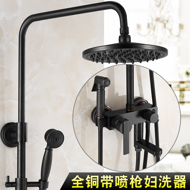"Bathroom Black Oil Paint Solid Brass Bathtub Shower Set Wall Mounted 8"" Rainfall Shower Mixer Tap Faucet 3-functions Mixer Valve"
