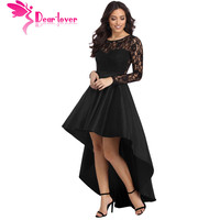 Dear Lover Party Gowns Formal Dress Women Autumn Black Long Sleeve Lace High Low Satin Dress