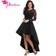 Dear Lover Party Gowns Formal Dress Women Autumn Black Long Sleeve Lace High Low Satin Dress