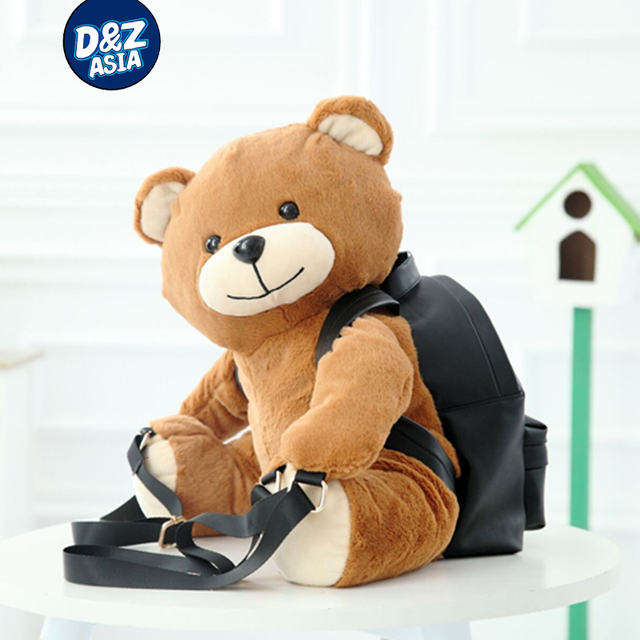 América Mulheres Mochila Moda Teddy Bear Ted Urso Bolsa de Ombro Homens Mochila Mochilas De Pelúcia Macia PU Menina de Couro Sacos Mochila