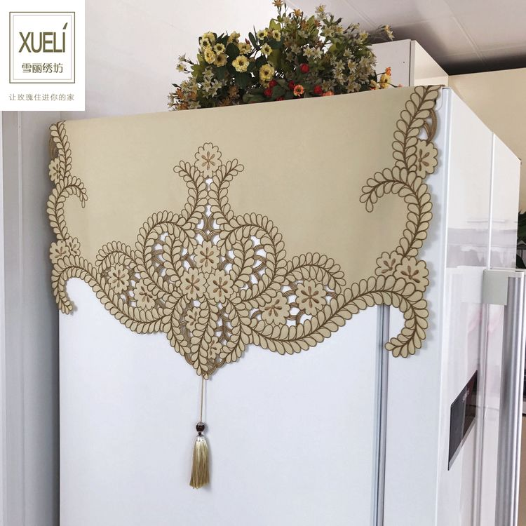 High end luxury embroidery cloth art European style Refrigerator Dust Covers