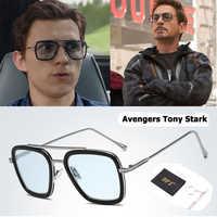 Moda vengadores Tony Stark Spiderman estilo De vuelo gafas De Sol ditads hombres cuadrado Marca Diseño gafas De Sol Oculos De Sol Retro