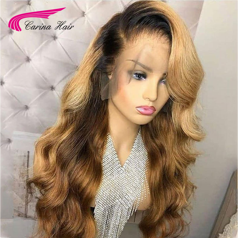 Image 4 - Carina Brazilian Body Wave 13X6 Lace Front Human Hair Wigs PrePlucked Honey Blonde Remy Ombre Color Glueless Wig-in Lace Front Wigs from Hair Extensions & Wigs