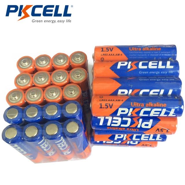 40 Uds PKCELL AAA pilas de 1,5 V LR03 Batería alcalina E92 AM4 MN2400 3A batería de único uso para cepillos de dientes electrónico thermogun