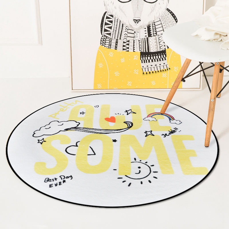 Nordic Cute Cartoon Round Carpets For Living Room Bedroom Chair Area Carpet Rug Children Room Play Tent Kids Soft Floor Mat Rugs