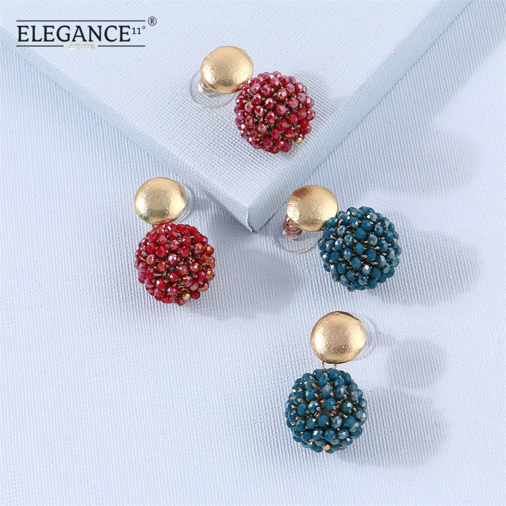 ELEGANCE11 Crystal Ball Stud Earrings For Women Vintage Crochet Crystals Earring Golden Studs Wedding Jewelry Gift Wholesale