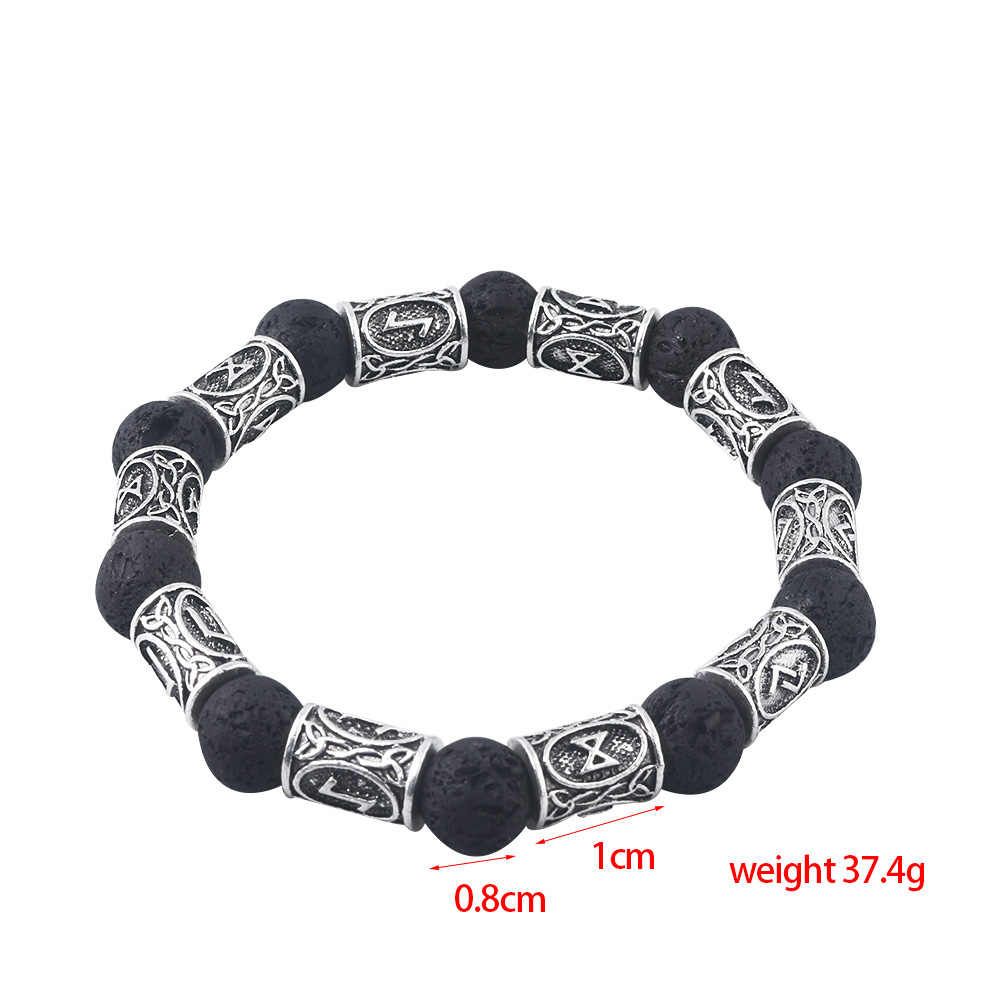 Rongji bijoux rétro perles de pierre de lave Viking rune Bracelets Bracelets amulette thor Cosplay bijoux