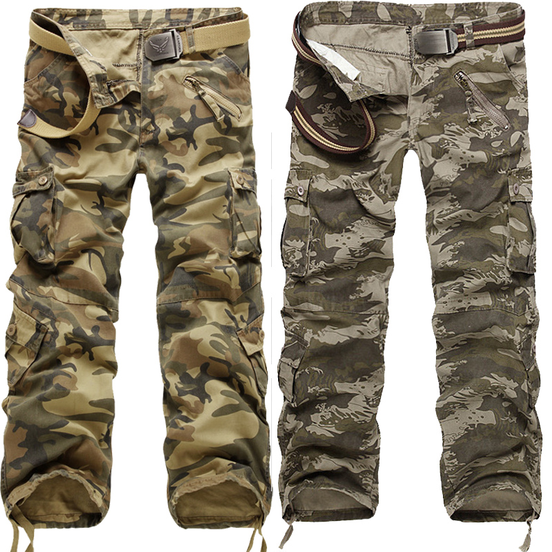 khaki man pants 2014 camouflage pants men multi pocket plus size 28-38 40