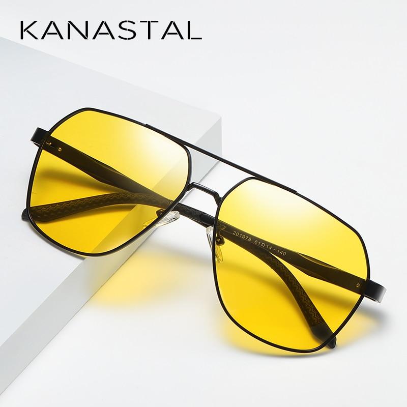 2019 Yellow Lens Night Vision Sunglasses Men Anti Glare Driving Glasses Women Square Pilot Style Shade UV400