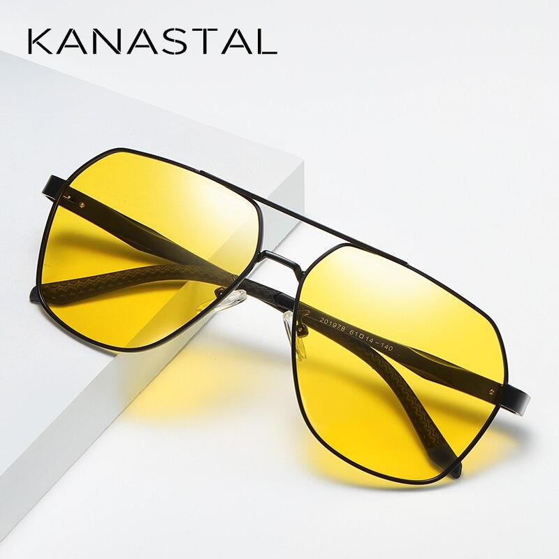 2019 Lente Amarela Night Vision Óculos De Sol Dos Homens Anti Brilho Óculos de Condução Mulheres Piloto Quadrado Estilo Sombra UV400