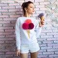 2016 mulheres Outono e inverno de moda de nova bola peludo bonito ice cream cone manga longa de impressão 7 estilos
