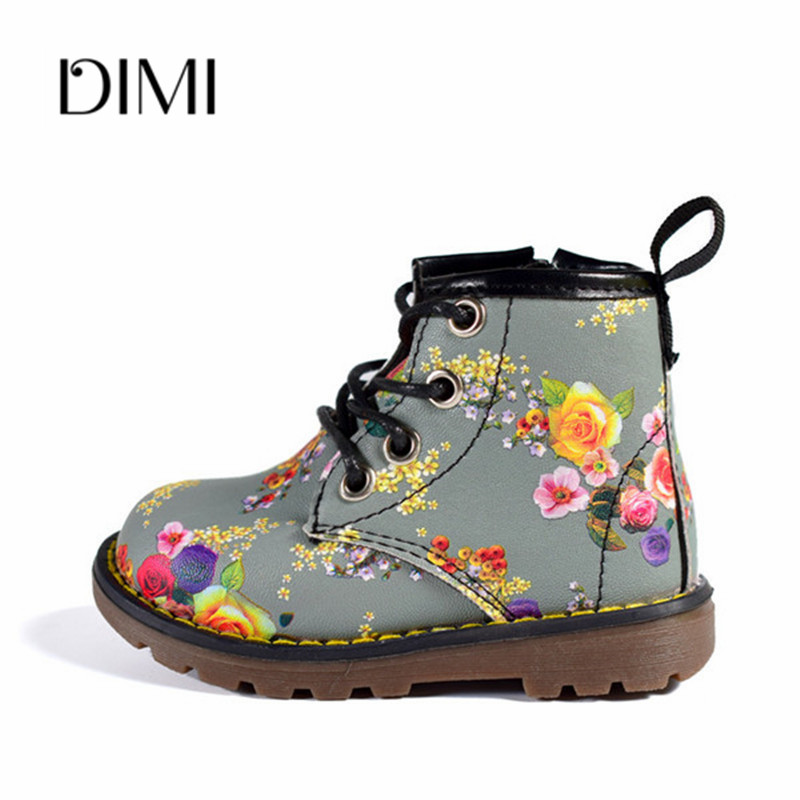2018 Autumn 6 Colors  Girls Boots Children Rubber Boots Toddler Boots Leather Flower Waterproof Shoes For Kids Size 21-30