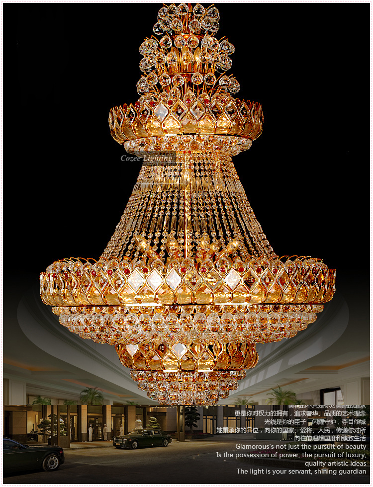 Free shipping traditional big gold hotel lobby crystal chandeliers free shipping traditional big gold hotel lobby crystal chandeliers hanging lights lamps lighting fixtures model pl n037 52 in chandeliers from lights mozeypictures Image collections