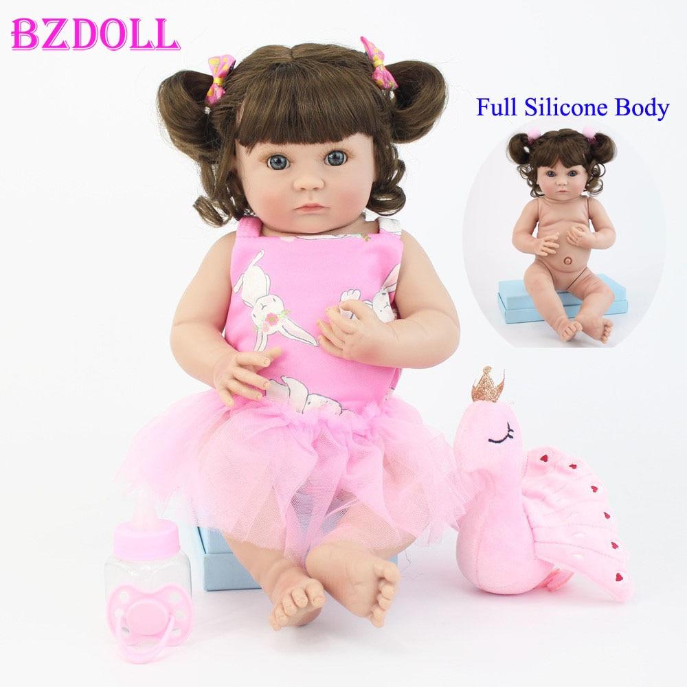 40cm Full Body Soft Silicone Vinyl Reborn Baby Doll Toy 15inch Princess Mini Girl Babies Doll