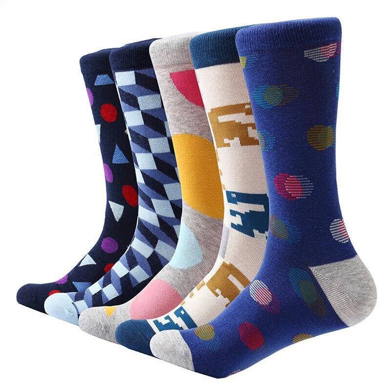 MYORED 5 pairlot colorful men cotton socks funny crew dress socks mens casual dress wedding socks