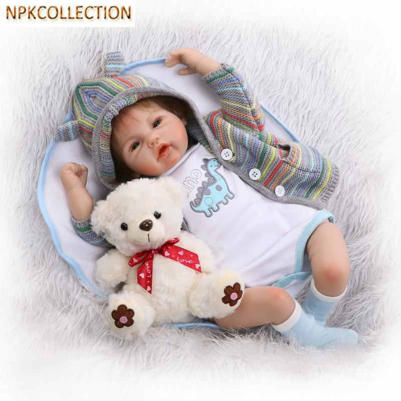 NPKCOLLECTION 18 Inch Reborn Dolls Babies Bonecas Lifelike Silicone Newborn Dolls for Girls New Year's Toy Gift,45CM Baby Alive 45 cm silicone reborn babies dolls for girls toys lifelike newborn baby bonecas with clothes reborn silicone babies for sale