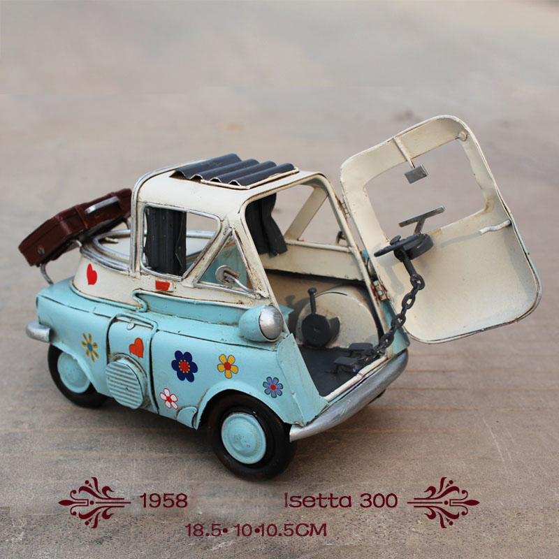 1958 year Isetta 300 old car mini blue Diecast car Door open Handmade metal crafts for home decoration gift  1:12 car model toy 1958 cute classic car 100