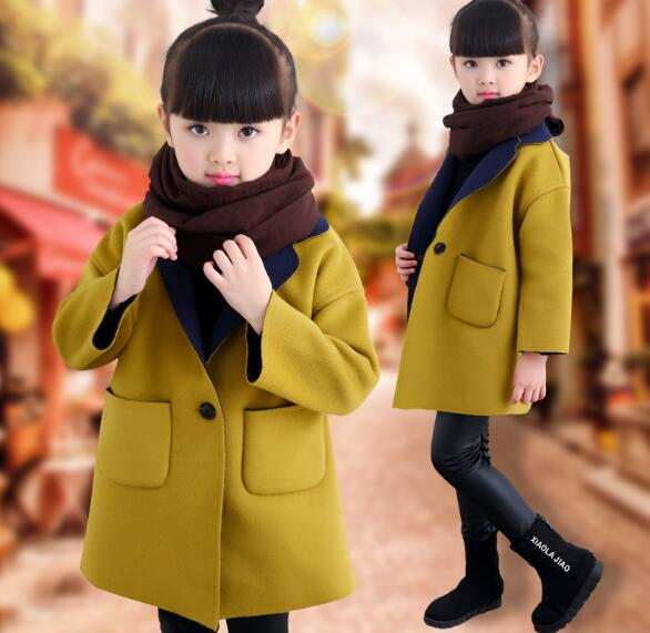 2018 spring children's clothes girls blends long style baby girl woolen blends coats for girls big kids thicken outerwears polymer blends