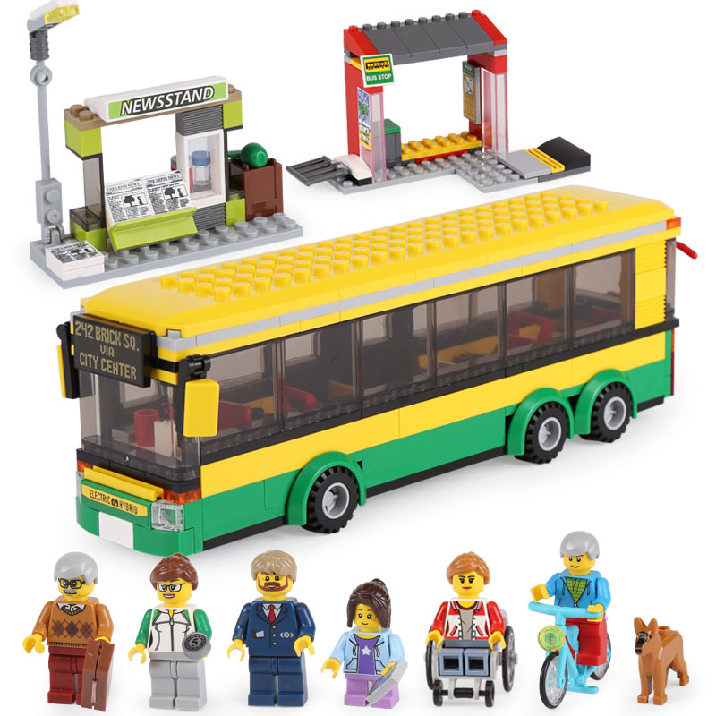 Lepin 02078 City Series Town Bus Station Set Compatible With lego 60154 Building Blocks Bricks Educational Birthday Toys Gifts shirly new rest stop dream house building blocks compatible with lego bricks girl s educational toys birthday christmas gifts