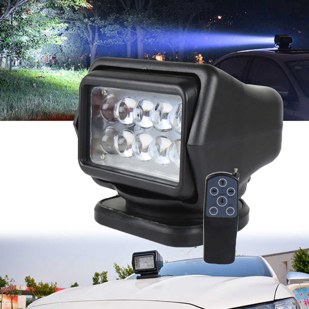 360 Degree Remote control 7inch LED Searchlight 50W Rotate Spotlight Light For Truck Off road SUV Boat Marine Driving Light