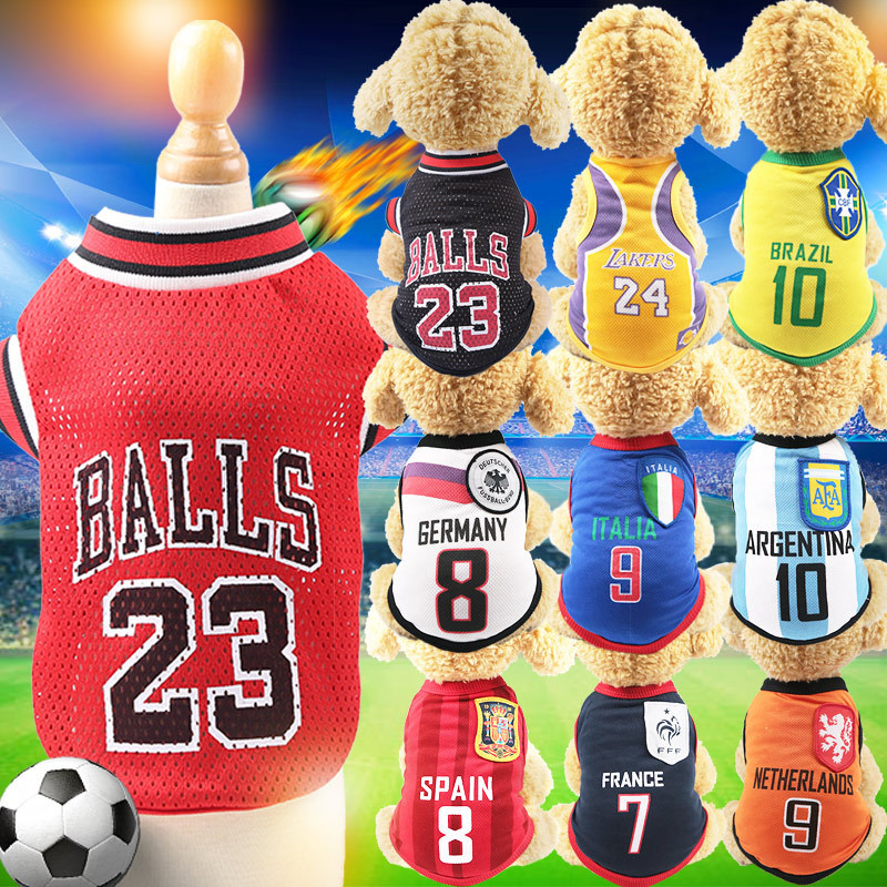 2018 World Cup Fans Dog Vest Country Soccer Dogs Shirt NBA Jersey  Basketball Uniforms For Yorkshire Terrier Dog and Cat Clothes -in Dog Vests  from Home ... 8800142af