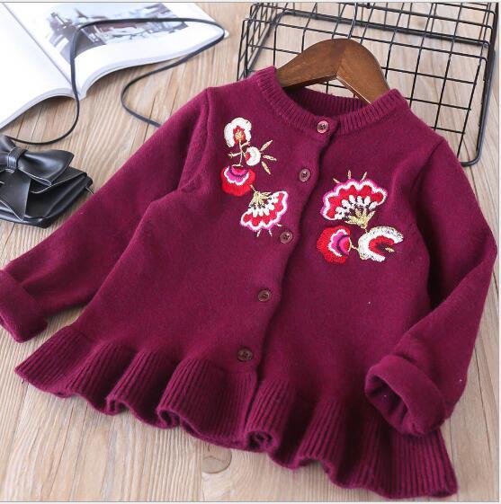 da2cd0cba89aba Little Girls Sweaters 2018 Spring Children Cotton Sweater Embroidery  Flowers Girl Knitting Cardigan High-grade Kids Cardigan