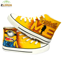 JUP 8 Styles Children High Top Despicable Me minion Superman spider Man Hand Painted Canvas Fashion Shoes  for Kids Boys Girls