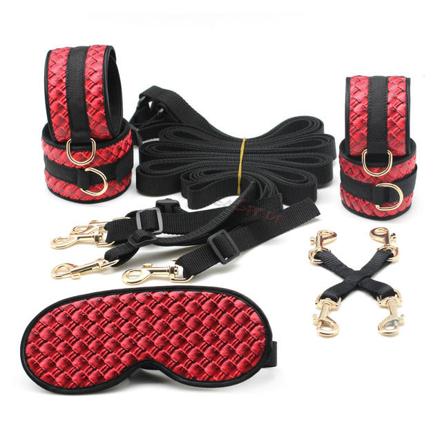 SMspade Bondage Restraints PU Under Bed Kit: Blindfold, Handcuff, Ankle Cuff, Metal Chain, Belt, Erotic Sex Toy for Adult Game