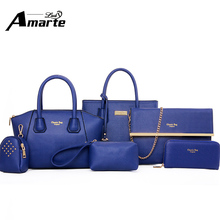 Women bags set 6pcs Cross Body Bag For Teenager Girls Shoulder Bags For Womens Pu Leather