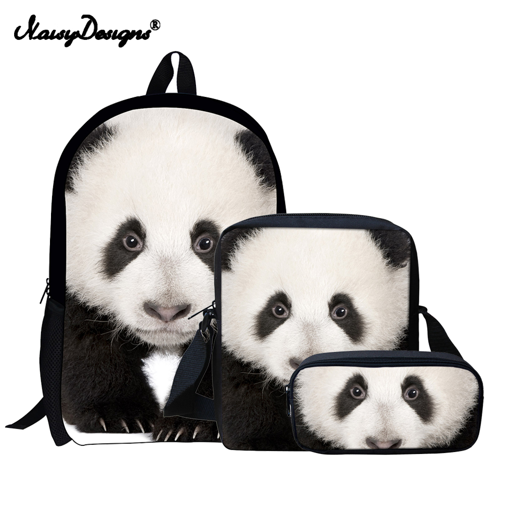 NoisyDesigns Panda Backpack School Kids 3 sets Backpacks for Children Boys  Backpacks Anime Pattern Children Book Bag Mochila 7f71cb9e310be
