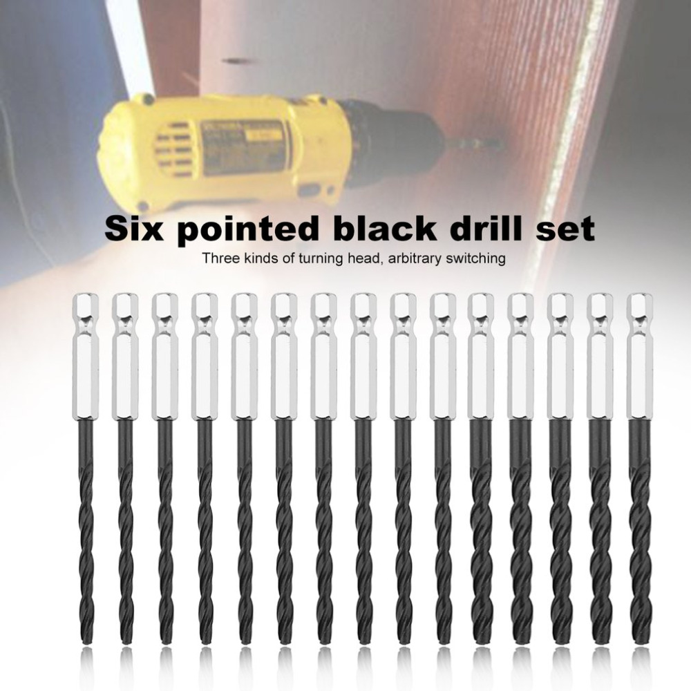 15pcs Twist Drill Bit Set Tools 3mm 4mm 5mm High Speed Steel Nitriding Electric Drill Bits Kit Screw Extractor Woodworking Tools