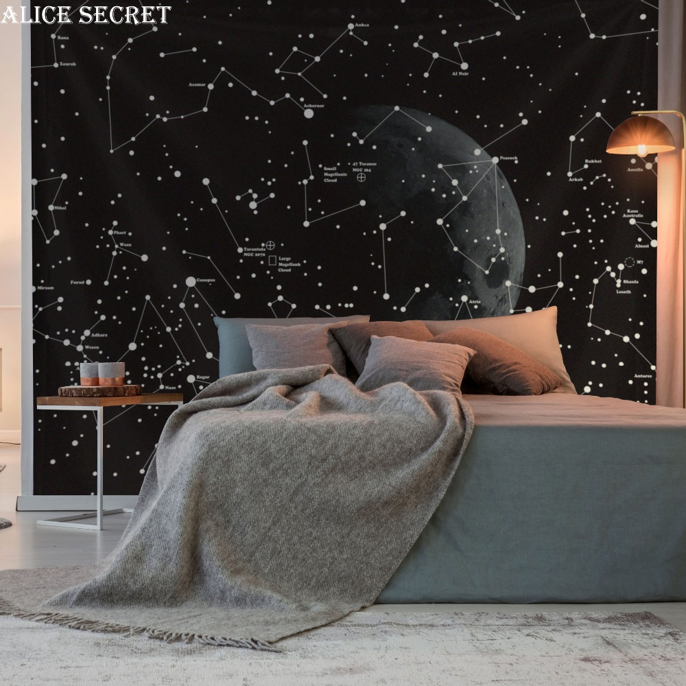 Psychedelic Constellation Galaxy Space Tapestry Wall Art Hanging Polyester Tapestries Table Cloth Bed Sheet Living Room Decor