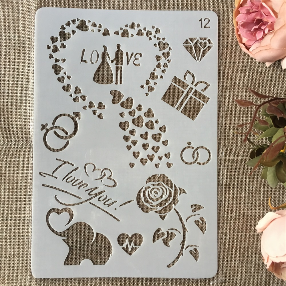 New 26cm Love Couple Elephant DIY Craft Layering Stencils Painting Scrapbooking Stamping Embossing Album Paper Card Template