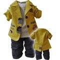 Из Трех частей костюм 2017 новая мода hot детская одежда небольшой набор хлопка пальто + футболка + брюки мальчиков трех частей наборы