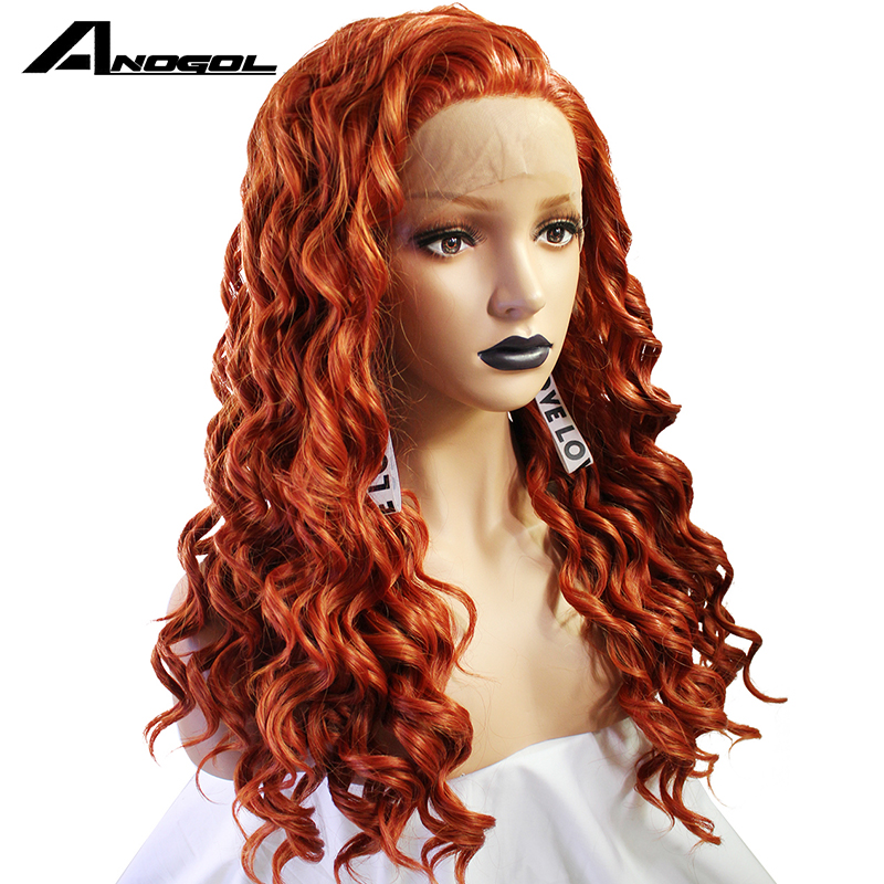 Anogol High Temperature Fiber Free Part Full Hair Natural Long Body Wave Wigs Orange Synthetic Lace
