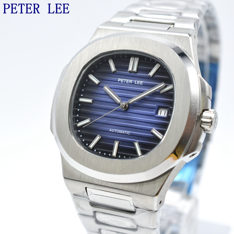 PETER LEE Mens Watches Top Luxury Brand Acciaio Pieno Automatic Mechanical Men Orologio Classico Maschile Orologi di Sport di Alta Qualità-in Orologi meccanici da Orologi da polso su  Gruppo 1