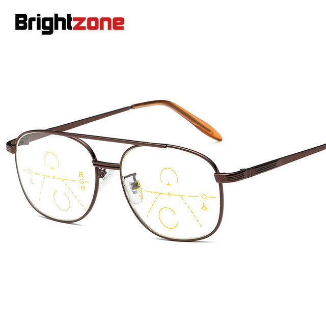 Brightzone See Far and Near Metal Full Rim Progressive Presbyopic Reading Old Peoples Magnifying progresivo Glasses Frame oculos