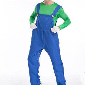 Image 3 - Super Mario Bro Luigi Cosplay Costume Set Rosso Verde Cappuccio del Cappotto Pantaloni Tute E Salopette Felpe Costumi di Halloween per Adulti Vestito Degli Uomini