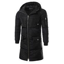 Зима новый мужская мода уличная мода цвет длинный С Капюшоном пальто толстый слой
