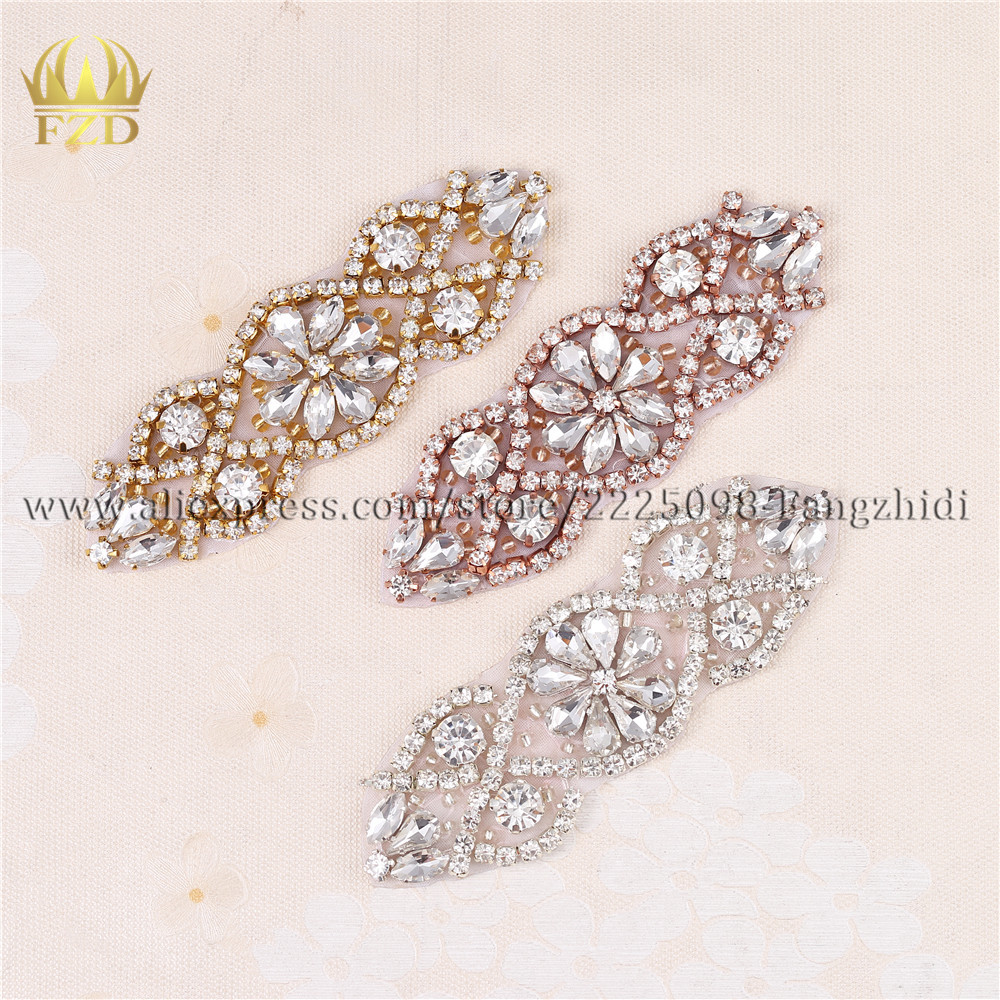 100 pieces Wholesale Handmade Hot Fix Sewing Beaded Bridal Sash Rhinestone Applique for DIY Garments