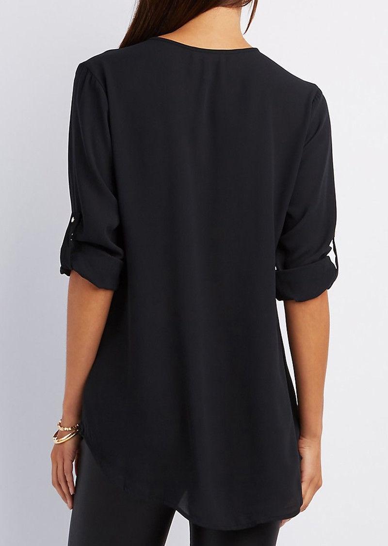 Women Chiffon Blouse 2018 V collar zipper large size long sleeves ...