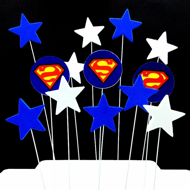 1Set/lot Superman Star Superhero Cake Toppers Picks Boy Favor Kids Baby Birthday Cake Flag Sponge+wire Decoration Party Supplies