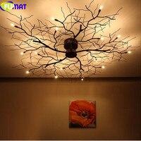 FUMAT Modern Branch Chandelier Globe Creative Black Metal Twig Ceiling Lamp Office Living Room Light G4 LED Dia50cm
