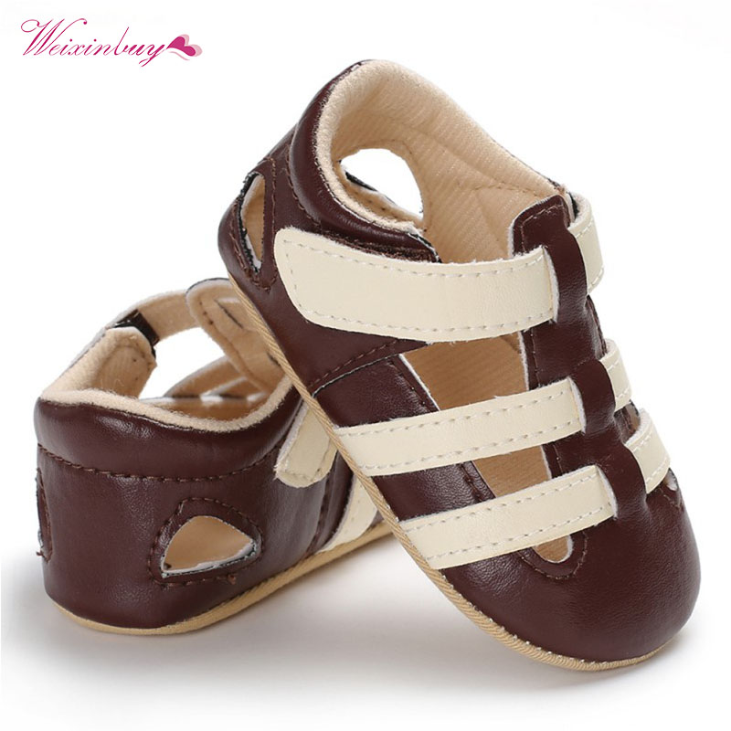 Newborn Baby Boys Shoes Summer PU Leather Kids Shoe First Walkers Soft Soled Hook Loop Infant Prewalkers