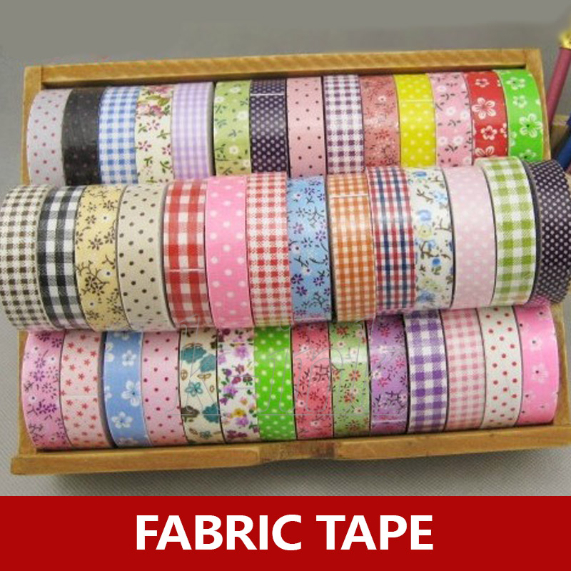 1 Roll Grid / Flower / Polka Dot Fabric Tape For Sewing , Scrapbook Cotton Fabric Deco Tape For DIY Decoration