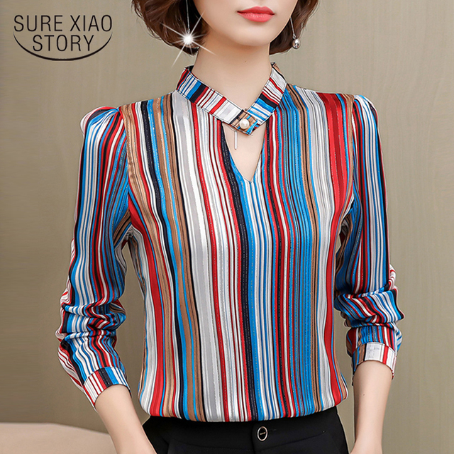 7f265e1ab38fa7 fashion woman blouses 2019 print striped chiffon blouse shirt long sleeve  women shirts office wear plus size women tops 0092 60