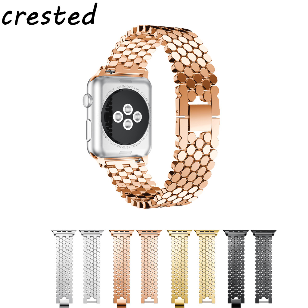 CRESTED sport stainless steel watch band for apple watch 3 42mm 38mm wrist band black metal link bracelet strap for iwatch 3/2/1 crested sport band for apple watch 3 42mm 38mm strap for iwatch nike 3 2 1 wrist band bracelet silicone strap