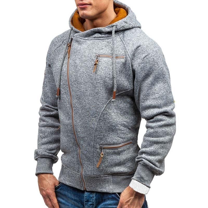 New Hoodie Men 2019 Spring Casual Solid Long Sleeve Mens Hoodies Sweatshirts Slim Zipper Hoody Sweatshirt Men Hooded Streetwear 2