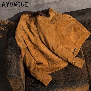 40c14c70f4ba AYUNSUE Натуральная кожа куртки мужские Осень коровья замша пальто короткие  тонкие ...